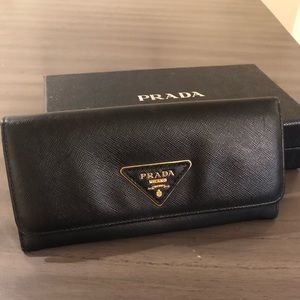 A DEAL - Prada Saffiano Black Continental Wallet